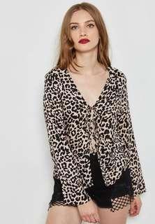 Miss selfridge leopard self tie top