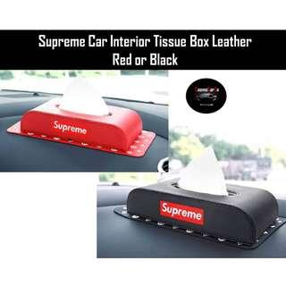 Supreme Car Interior Tissue Box Ultra High Quality Leather Red Or Black