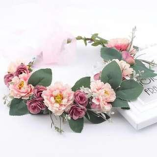 Handmade Rustic Bridesmaid Floral Headband Accessory - One Size Fits All
