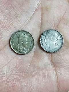 Strait settlement 1908 1/4 cent, 1876H 10 cent