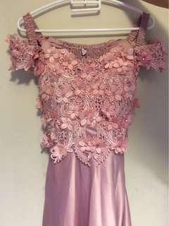 Dusty Pink Flowery Gown