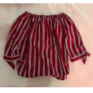 ShopCopper Red Stripes Off Shoulder
