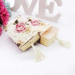 50 PCS Floral Pink Wedding Candy Box with Tassel