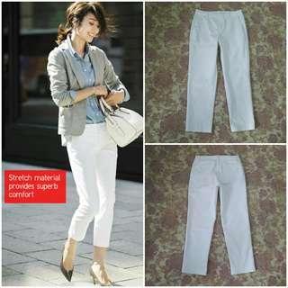 UNIQLO Stretch Cropped Pants (White JP 61)