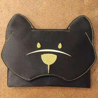 NEW BCBG MAXAZRIA Black Satin Bear Face Bag / Clutch  Soooooooo Cute!