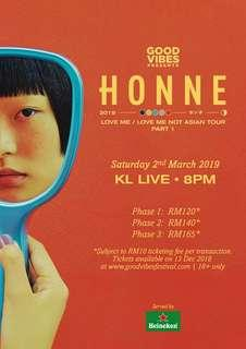 [Ticket PHASE 3] Honne Love Me/ Love Me Not Asian Tour KL