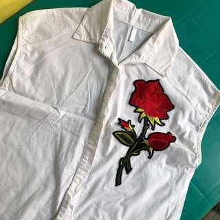 White Blouse with Rose Applique