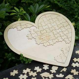 Personalised Heart Shaped Puzzle Wedding Guestbook Alternative