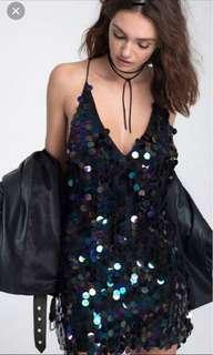NYE sequin backless v-neck slip dress (MOTEL ROCKS DUPE)