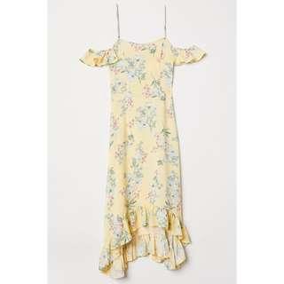H&M Yellow Floral Cold Shoulder Maxi Dress
