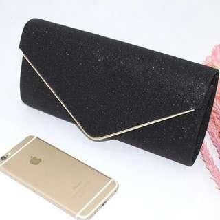 Black Glamorous Rhinestone Bridal Clutch with Sequins