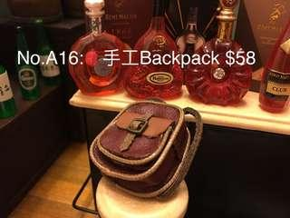 No.A16:🎒手工Backpack miniature 微型 微縮藝術 可配re-ment mimo 扭蛋 食玩 Blythe 黏土人合用