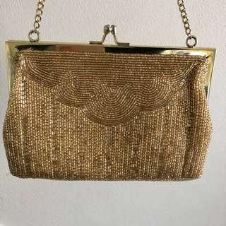Genuine Vintage 40's gold beaded evening bag