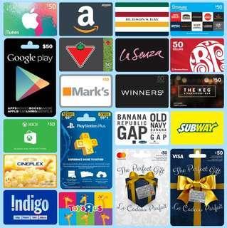 Steam Gift Card / Itunes Gift Card / Google Gift Card / Amazon Gift Card