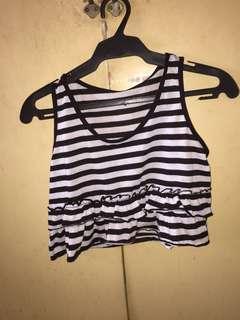 Crop top stripe black & white