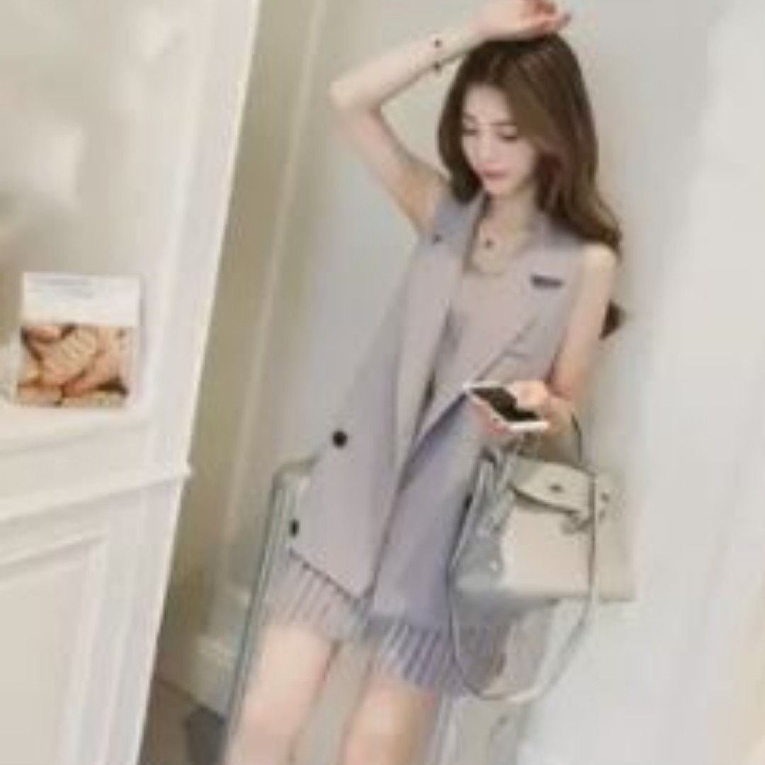 2018 Summer Dress Korean Style Small Suit Sling Skirt Two Pieces Set