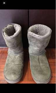 UGG灰色毛毛boots(size 36-38)