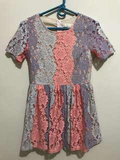 Peach and light blue lace dress