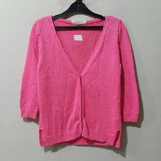 Zara Knit Neon Pink Cardigan