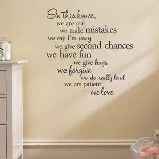 🚚 In This House wall decal sticker