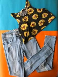Crop top + jeans bundle