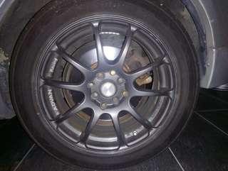 16 inch rim Advan Racing siap tayar 205 50 16 still new