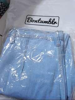 Highwaist jeans Boyfriend Pocket Depan (Real Pict)