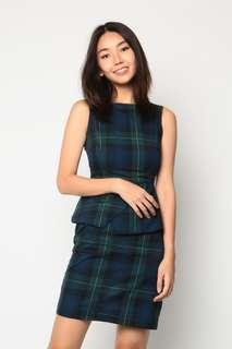 🚚 Dressabelle Peplum Sheath Dress (Green Checked)