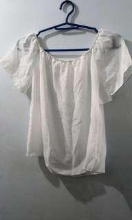 Ladies' Sheer Chiffon White Off Shoulder Beach Coverup Blouse Top