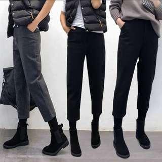 🚚 全新-M號九分韓版深灰色毛呢闊腿褲