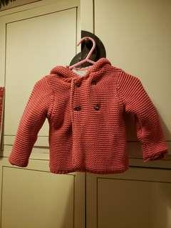 M&S Marks and Spencer knitted jacket in raspberry for baby 3-6months very warm