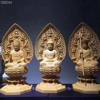 3 Buddha sculptures each 12.5x12.5x28 (one set)