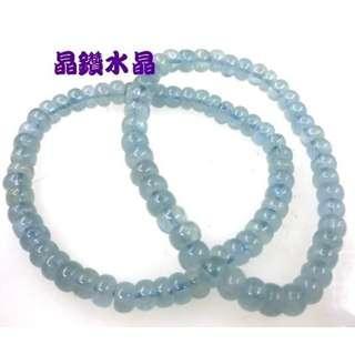 『晶鑽水晶』海水藍寶手鍊*超強護身符~凈化心靈的最佳寶石 6.5mm