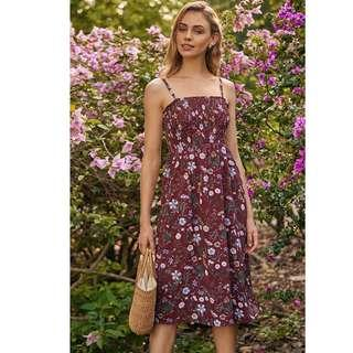 🚚 BN TCL Adalynn Floral Printed Midi Dress in Russet Brown