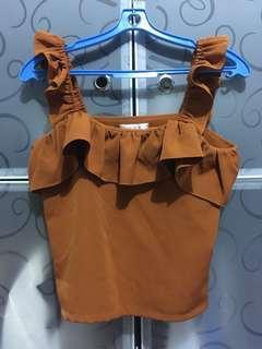 Orange Brown Crop Top