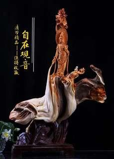 Yabai Guanying wood sculpture 62x37x93