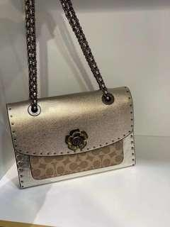 AUTHENTIC COACH PARKER IN SIGNATURE CANVAS WITH RIVET AND SNAKESKIN DETAIL (CFO)