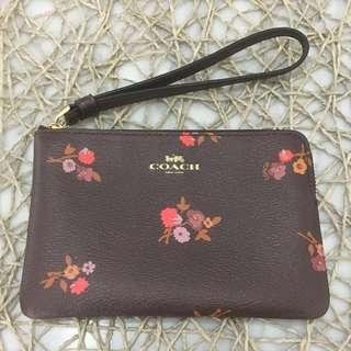 BN Brand New Auth Coach Small Wristlet Brown Floral Flower Flowers Wallet Handphone Pouch