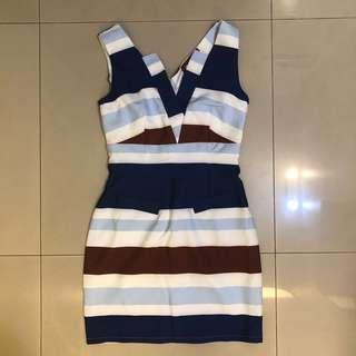 🚚 全新僅試穿 OL洋裝 藍色條紋包臀洋裝 性感氣質貼身洋裝 V領性感設計