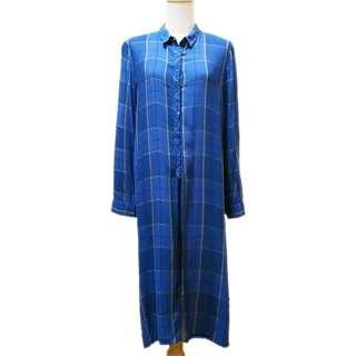MNG Suit Long Blue Checkered Blouse