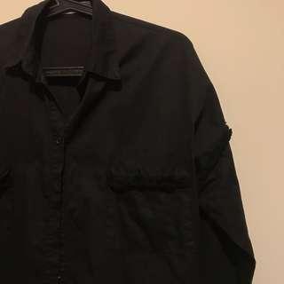 正韓 流蘇造型寬版襯衫外套
