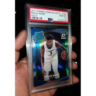 Malik Monk PSA 10 2017 panini Donruss Optic Holo Card