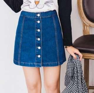 [PO] High Waist Denim Button Down Skirt