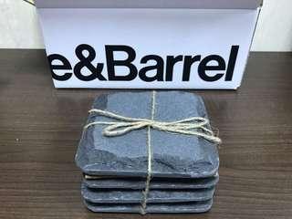 🚚 全新現貨 美國居家設計時尚品牌 美式Crate And  Barrel 美麗的手工塑形杯墊,以天然石板製成