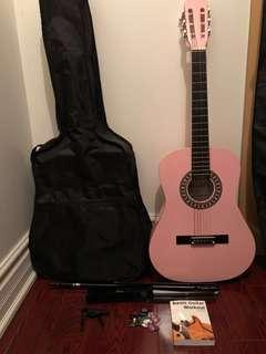 Pink Classical Guitar with Accessories