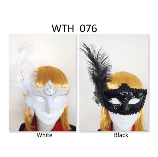 < CATZ > Feathers Flower Face Mask Masquerade Party Face Mask Cosplay Mask Party Accessories