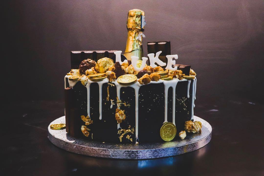 Black Gold Cake Champagne Customised Cakes 21st Birthday