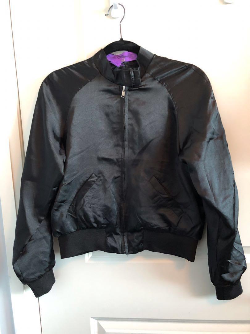 Black Shiny Ladies Bomber Jacket - Medium