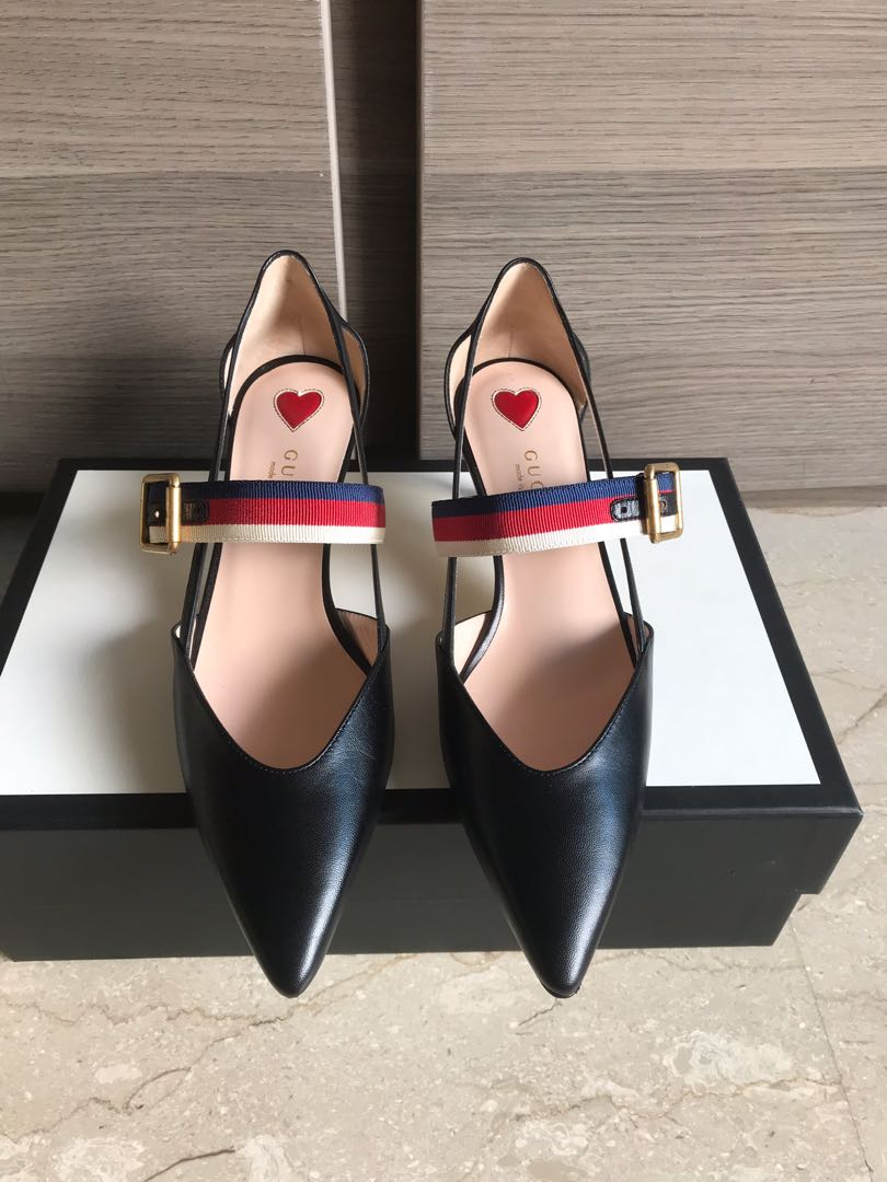 62a6535fb607 Brand new Gucci low heel pump with Sylvie Web strap size 36 ...