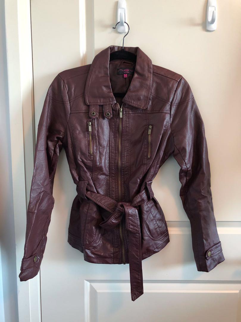 Burgundy Faux Leather Ladies Jacket - Medium